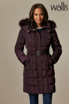 Wallis Berry Faux Fur Collar Quilted Coat