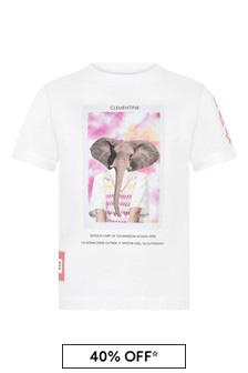 Girls White Cotton Elephant T-Shirt