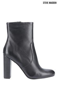 Steve Madden Black Editor Zip Ankle Boots