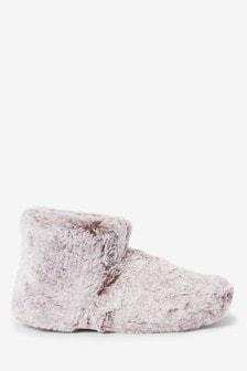 Mink Tipped Faux Fur Slipper Boots
