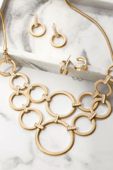 Gold Tone Circle Pave Link Detail Statement Necklace