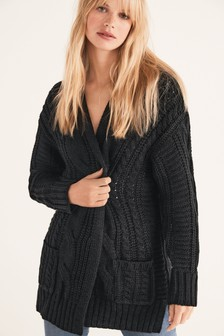 Black Cable Cardigan