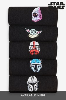 Black Star Wars™ Mandalorian Embroidered Socks Five Pack