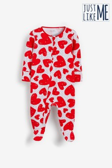Red Hearts Zip Sleepsuit (0mths-2yrs)