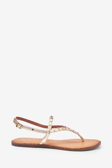 Gold Forever Comfort® Extra Wide Fit Studded Toe Post Sandals