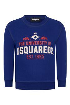 Kids Blue Cotton Logo Sweater