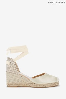 Mint Velvet Gold Beth Espadrille Wedges
