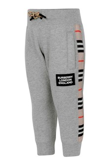 Baby Boys Grey Melange Cotton Joggers