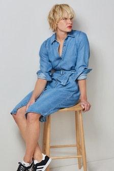 Mid Blue TENCEL™ Blend Belted Shirt Dress