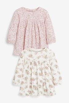 Ecru/Pink 2 Pack Tunic Tops (0mths-3yrs)