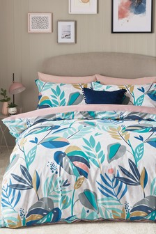 Cotton Rich Stylised Nature Duvet Cover and Pillowcase Set