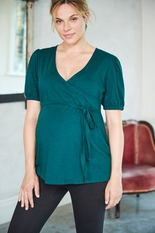 Green Maternity Puff Sleeve Jersey Wrap Top