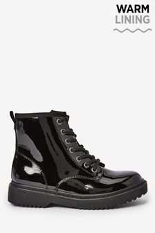 Black Patent Lace-Up Boots (Older)