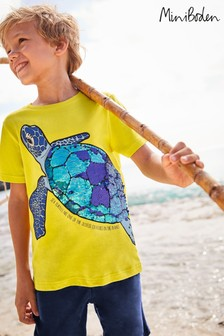 Mini Boden Yellow Sequin Sea Creatures T-Shirt
