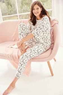 Monochrome Teacups Maternity Cotton Blend Pyjamas