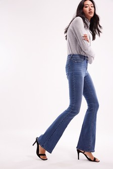 Mid Blue Power Stretch Flared Jeans