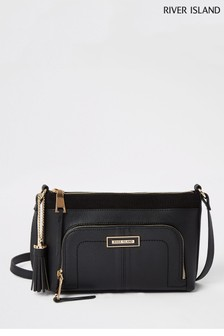 River Island Black Front Pocket Slouch Cross Body Bag