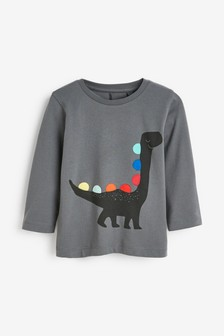 Grey Long Sleeve Rainbow Spikes Dino Jersey T-Shirt (3mths-7yrs)