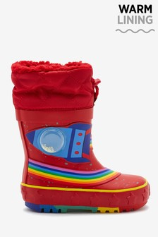 Red Warm Lined Cuff Wellies (Younger)