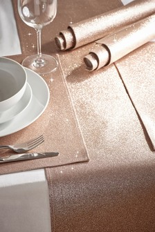 Set of 4 Rose Gold Glitter Placemats And Runner