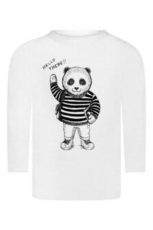 Baby Boys Ivory Cotton Panda T-Shirt