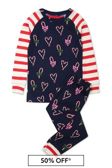 Girls Organic Cotton Navy Pyjama 2 Piece Set