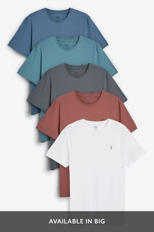 Blue Mix Crew Neck Regular Fit Stag T-Shirts Five Pack