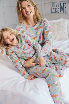 Grey Matching Mother & Me Girls Christmas Dinner Pyjamas (9mths-16yrs)