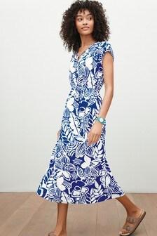 Blue Floral Tie Neck Midi Dress