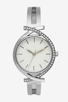 Silver Tone Split Strap Bracelet Watch