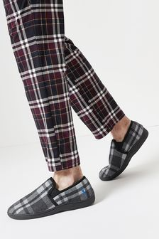 Grey Check Closed Back Slippers