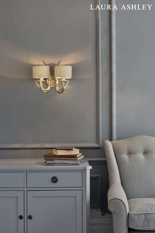 Laura Ashley Gold Mulroy Antler Double Wall Light