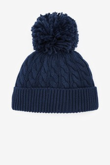 Navy Cable Hat With Pom (0mths-2yrs)