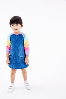 Multi Rainbow Raglan Denim Dress (3mths-7yrs)