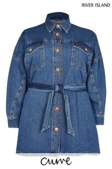 River Island Plus Blue Denim Medium Batwing Shirt Dress