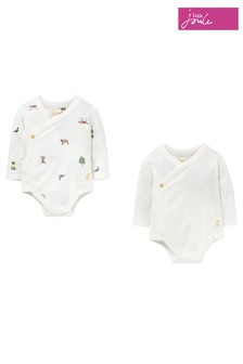 Joules White The Kimono Bodysuit Two Pack