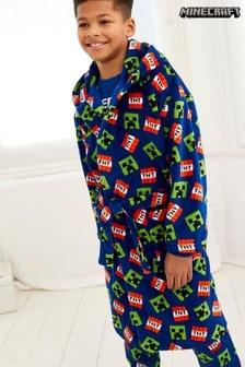 Blue Minecraft Soft Touch Fleece Dressing Gown (3-14yrs)