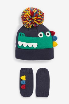 Navy 2 Piece Crocodile Hat and Glove Set (Younger)