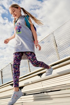 Grey Floral Sports And Legging Set (3-16yrs)