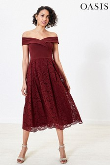 Oasis Red Lace Skirt Bridesmaid Dress