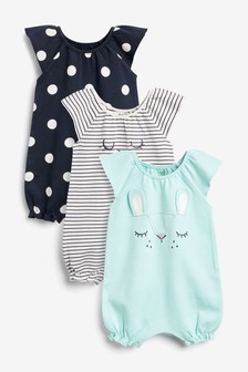 Mint 3 Pack Character Rompers (0mths-3yrs)