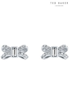 Ted Baker Silver Sabla Crystal Sparkle Bow Stud Earrings