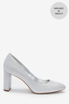 Shimmer Almond Toe Half Moon Heel Court Shoes