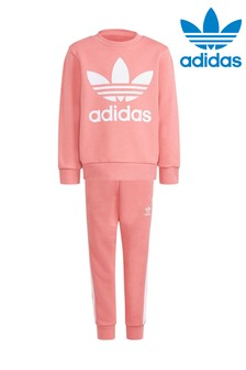 adidas Originals Little Kids Pink Trefoil Crew And Jogger Set