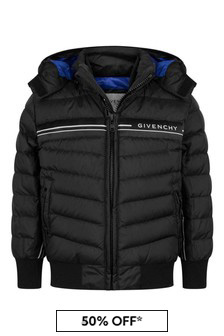 Boys Black Down Padded Quilted Jacket