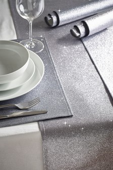 Set of 4 Glitter Placemats & Table Runner