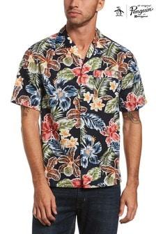 Original Penguin Blue Short Sleeve Floral Cabana Shirt