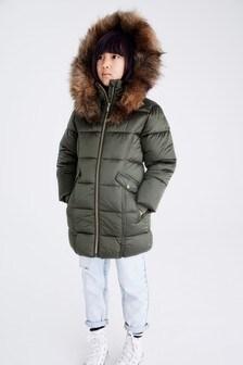 Khaki Two Tone Shower Resistant Padded Jacket (3-16yrs)