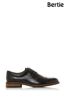 Bertie Stains Black Leather Toe Cap Lace-Up Gibson Shoes
