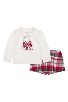 Baby Girls Red Check Shorts Set (2 Piece)